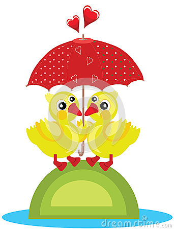 Two Ducks Under Red Umbrella