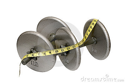 Two Dumbbells with Measuring Tape Isolated