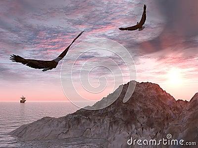Two eagle