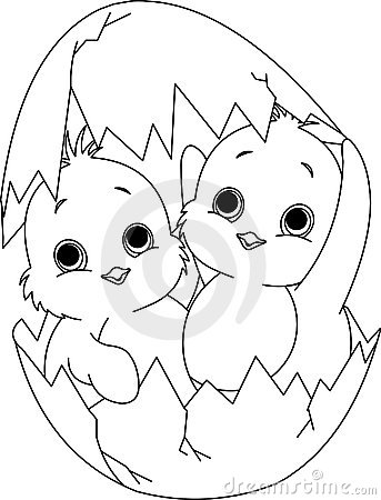 Kuiken Met Ei Kleurplaat Two Easter Chickens In The Egg Coloring Page Royalty Free