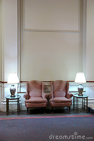 Free Two Easy Chairs In Lobby With High Ceiling Stock Photos - 1594963