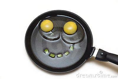 Two eggs on a frying pan with a smile