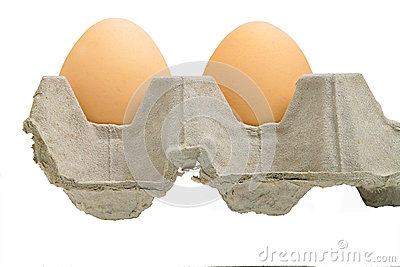 Two eggs in a tray on white isolation.