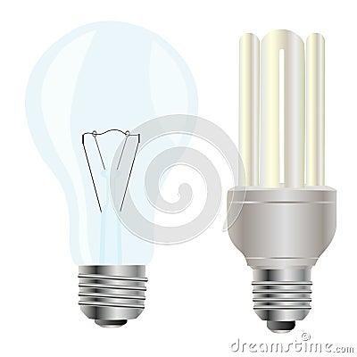 Two electric light bulbs