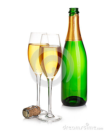 Free Two Elegant Champagne Glasses On The Background Of Green Bottles Close-up Isolated On  A  White. Festive Still Life. Royalty Free Stock Images - 63614939