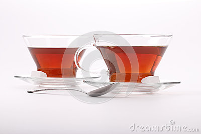 Two elegant cups of black tea