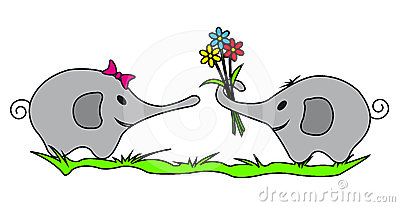 Two Elephants with Colorful Flowers