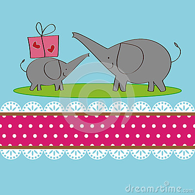 Two elephants design for greeting card