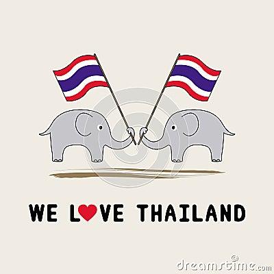 Two elephants hold Thai flag1
