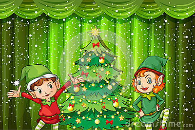 Two elves near the christmas tree