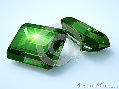 Two emerald precious stone