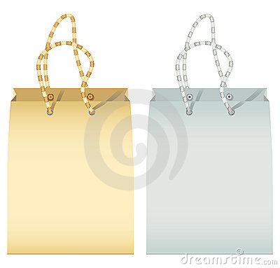 Two empty paper shopping bag