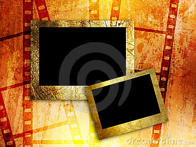 Two empty photo frames on film strip background