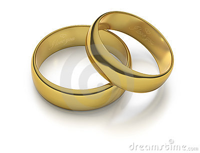 Two engraved gold wedding rings