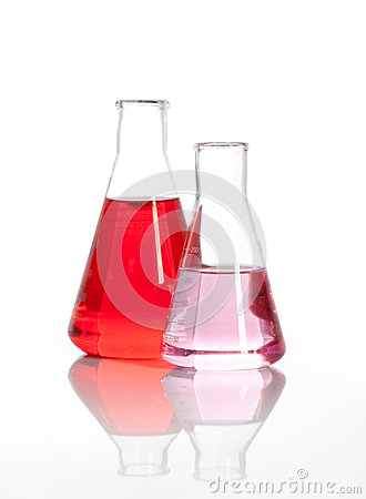 Two Erlenmeyer glass flasks with a red liquid