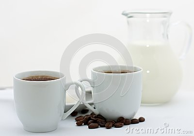 Two espresso cups with coffee