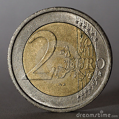 Two euro coin. Low key.