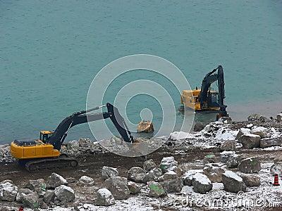 Two excavator.