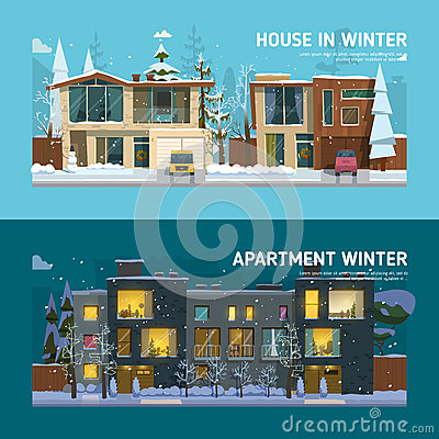 Two family house and apartment banners. Vector Illustration
