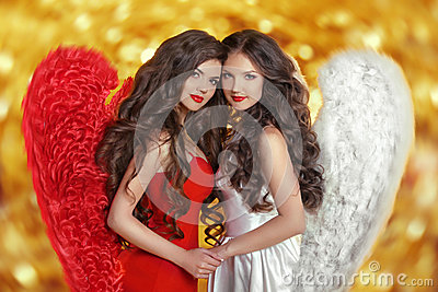Two Fashion Beautiful Angels Girls Models With Curly Long