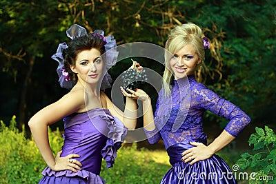 Two fashionable beautiful women