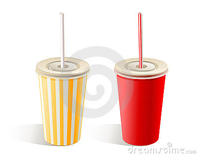 Two fast food paper cups with straws