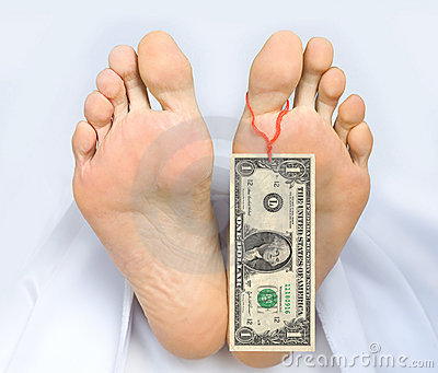 Two feet of dead body with banknote one dollar