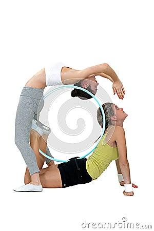 Two female gymnasts