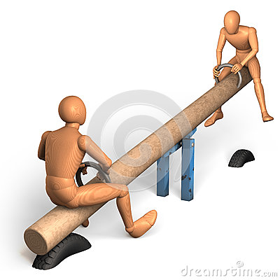 Two figures rocking on see-saw