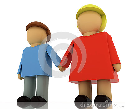 Two figures in romantic relationship holding hands