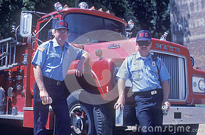 Two firemen Editorial Stock Photo