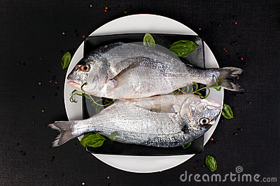Two fish with fresh herbs on plate, top view.