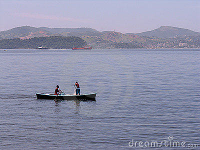 Two fishermen in boat