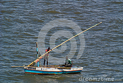 Two fishermen at sea near Maputo Editorial Photography