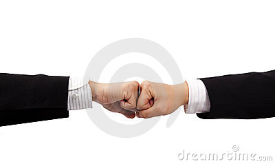Two fists of business man hand
