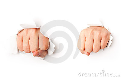 Two fists from paper