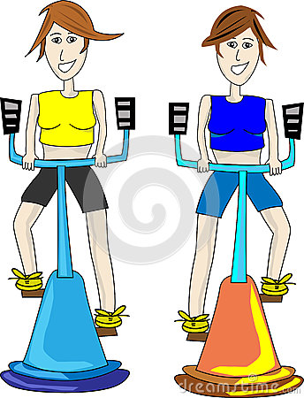 Two fitness girls exercising