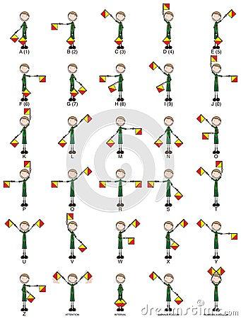 Two-flag semaphore signals Vector Illustration