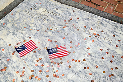 Two flags for Ben Franklin s gravestone Editorial Stock Photo