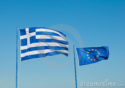 Two flags are developed in the wind, Greece