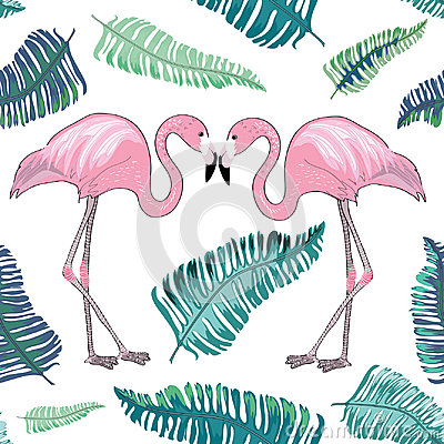 Free Two Flamingos With Beaks Together With Green Tropical Leaves Aroud Royalty Free Stock Photos - 96213668