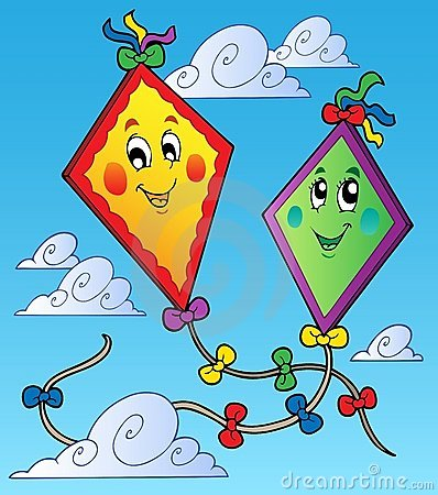 Two flying kites on blue sky
