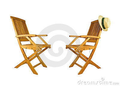 Two folding teak wood deck chair