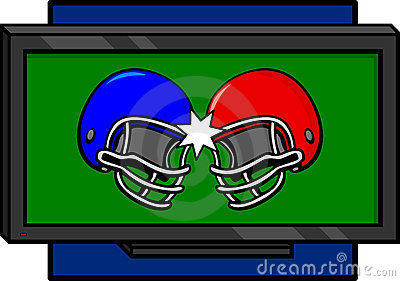 Two football helmets colliding in a television
