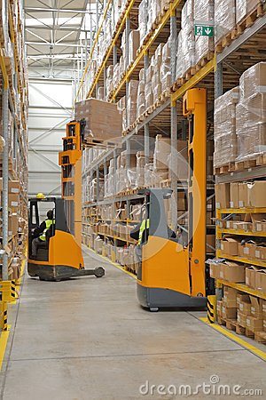 Free Two Forklifts Warehouse Stock Photos - 111366603