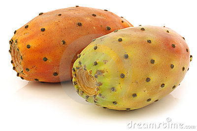 Two fresh colorful cactus fruits