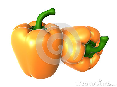 Two Fresh orange color sweet pepper. Foods and Dishes Series.