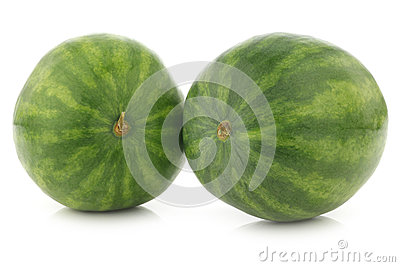 Two fresh whole watermelons