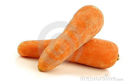 Two fresh whole winter carrots
