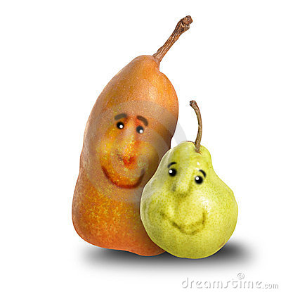 Two Friend Pears Together with Cartoon Faces